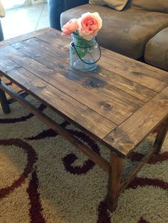 """DIY coffee table with Minwax """"Special Walnut"""" stain - Modern Cedar Table, Wood Table, Dining Table, Stained Table, Wood Stain Colors, Diy Coffee Table, Minwax, Walnut Stain, Diy Furniture"""