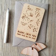 Wooden Father's Day Constellations Card