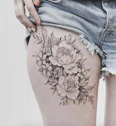 Delicate peonies on thigh by Tritoan Ly
