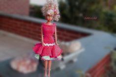 Puppenkleidung - Kleid mit 2 Stufen *** für Barbie *** pink - ein Designerstück von Sabisilke bei DaWanda