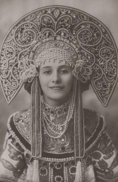 "Anna Pavlova wearing a kokoshnik, in a costume for her 'Russian dance"", 1910's-20's"