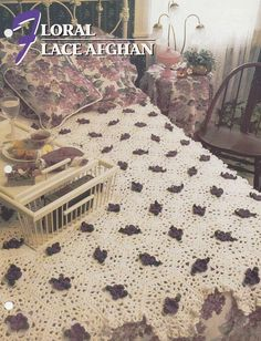 Floral Lace Afghan, Annie's Crochet Quilt and Afghan Pattern Club Leaflet 03-1-04