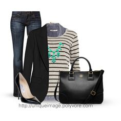 "A cute handbag, a pair of pumps, and a blazer will dress up your everyday jeans. Now you're ready for ""Causal Fridays."""
