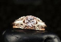 Trinity - Morganite Engagement Ring in Rose Gold, 4-Prong Solitaire with Intricate Filigree and Milgrain, Art Deco Design, Free Shipping by DiamondDoveJewelry on Etsy