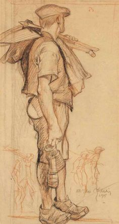 Frank Brangwyn (British, The Miner, Red and black chalk on brown paper, 22 x 12 in. Fine Art Drawing, Body Drawing, Life Drawing, Drawing Sketches, Painting & Drawing, Art Drawings, Human Figure Sketches, Figure Sketching, Figure Drawing