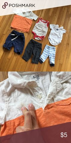 Baby Boy Clothing Lot Baby boy clothing lot. Brands: Baby Gap, Old Navy, Janie and Jack, and Carter's. Sized: Newborn to 18-24 months. Minimal to no wear. Orange Baby Gap polo has two stains as pictured. Not selling individually. Smoke free home. GAP Shirts & Tops