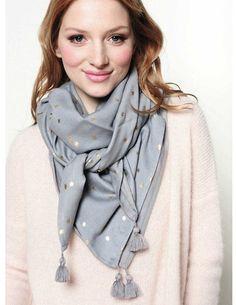 Des Petits Hauts Soja silk scarf - grey - Feather & Stitch
