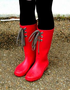 EMPHASIS: Red Rain Boots