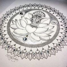 """All done won't be doing prints of this. It's a one off! #elephant #mandala #maya #dream #buddha #lotus #lotusflower #diamonds #gems #yinyang #om…"""
