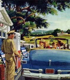 Road Trip - detail from 1951 Gulf Fuels ad, art by John Bingham. Vintage Pictures, Vintage Images, Vintage Advertisements, Vintage Ads, Vintage Travel, Vintage Housewife, Ad Art, Norman Rockwell, The Good Old Days