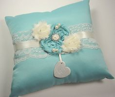 Personalized Tiffany Blue Ring Bearer Pillow with Rhinestones, Pearls and Personalized Engraving on Etsy, $42.00