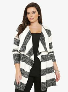 Striped Draped Open-Front Cardigan Size 1