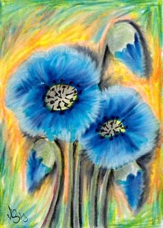 "Aceo  Original  ATC OOAK    ""BLUE POPPIES""   pencil/ink  #OutsiderArt"