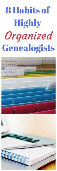 8 Habits of Highly Organized Genealogists - Family Tree Genealogy Forms, Genealogy Search, Genealogy Websites, Family Genealogy, Lds Genealogy, Genealogy Organization, Organizing, Organisation, Family Trees