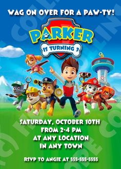 Paw Patrol Puppy Dog Birthday Party Invitations - Prints or Digital File