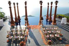 Fucshia and orange ceremony at Zephyr Palace, Costa Rica.  Weddings Costa Rica | The Bridal Circle