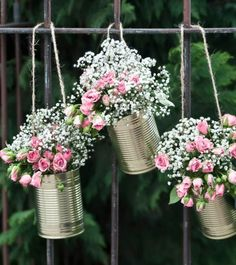 Tin can garland - gold - 5 pieces- Girlande aus Blechdosen – gold – Decorative, golden wedding cans as wedding decoration or flower pots for romantic highlights. Country Style Wedding, Rustic Wedding, Table Wedding, Shabby Chic Wedding Decor, Wedding Vintage, Wedding Cakes, Deco Champetre, Deco Floral, Art Floral
