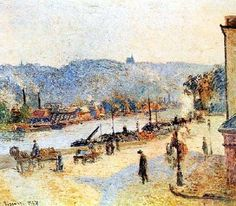Pissarro Art Prints | The Quays At Rouen by Camille Pissarro