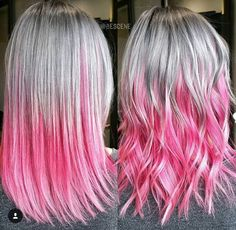 Silver and Pink Ombré Hair