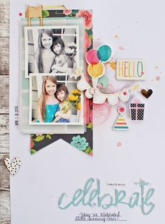 Love the mix of black and white and color photos on this pretty birthday themed layout! Birthday Scrapbook, Baby Scrapbook, Scrapbook Paper Crafts, Scrapbook Supplies, Scrapbook Cards, Crate Paper, Studio Calico, Scrapbook Sketches, Scrapbook Page Layouts