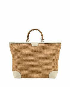 L0A4P Gucci Bamboo Large Shopper Straw Tote Bag, Natural/White