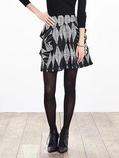 Print Jacquard Ruffle Skirt