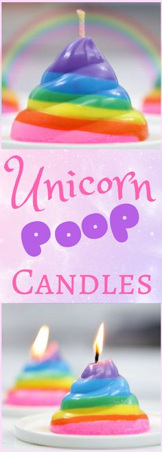 DIY Unicorn Rainbow Poop Candles