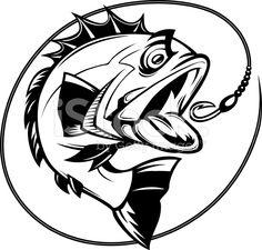 bass fishing graphic royalty-free stock vector art