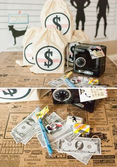 Detective Party LOOT Bags - the case of the stolen party favors activity leads the kiddos to find their Loot bags favors.... Safes with fake money and tons of candy and fun stuff ! SO fun, right!?