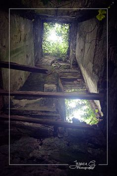 Looking up. Inside one of the tower remains at Castle Caldwell. Co. Fermanagh, Northern Ireland