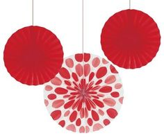 Red Paper Fans. Polka dots and solid
