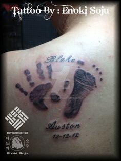 Baby Foot and Hand Print Tattoo By Enoki Soju by enokisoju