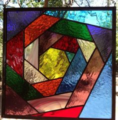 Stained Glass Panel  Colorful All Around by PeaceLuvGlass on Etsy, $65.00