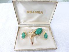 Vintage signed Kramer green art glass and clear by MeyankeeGliterz