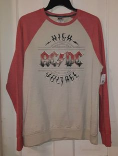 72cf58948d AC DC High Voltage Red Heather Long Sleeve Oatmeal Body T-Shirt Large NEW