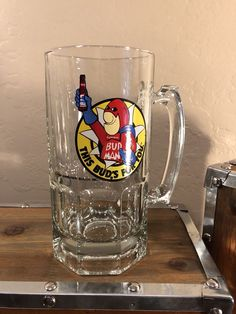 98e5b275713 Bud Man Beer Mug 1988 glass heavy great colors and logo! Man cave bar garage
