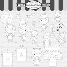 Wonderland Friends Stamps - 17 graphics included for your creative projects.