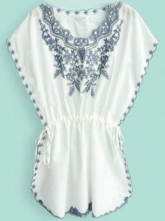 Vestido manga murcielago bordado con cinta-Blanco