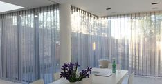 Curtains for Sliding & Bifold Doors - Moghul Interiors Voile Curtains, Curtains Living, Curtains With Blinds, Drapery, Ceiling Curtains, Kitchen Curtains, Curtains For Bifold Doors, Living Room Sliding Doors, Blinds For Sliding Doors
