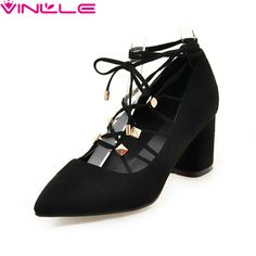 Price: US $27.97 VINLLE 2017 Women Pumps Flock Sexy Party Square High Heel Pointed Toe Summer Spring Shoes Western Style Wedding Pumps Size 34-39