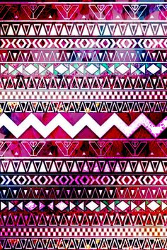 Red, pink, white, floral, Aztec