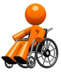 Disability, impairment, or hospital visit concept  An orange man in a wheel chair, moving about independently with confidence and increasing wellness   Stock Photo