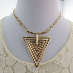 Elegant fashion personality exaggerated geometric triangle hollow female necklace ,shop cheap fashion jewelry  at www.favorwe.com
