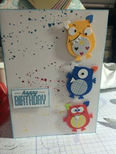 Little monsters using Owl Punch Bday Cards, Kids Birthday Cards, Happy Birthday, Owl Punch Cards, Owl Card, Monster Cards, Little Monsters, Punch Art, Kids Cards