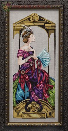 Venetian Opulence - cross stitch pattern by Mirabilia Designs - An elegant lady dressed in rich colours and is seated amongst gold columns. Cross Stitch Fairy, Cross Stitch Angels, Cross Stitch Kits, Cross Stitch Charts, Cross Stitch Designs, Cross Stitch Patterns, Cross Stitching, Cross Stitch Embroidery, Cross Stitch Pictures