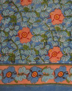 William Morris Blue and Coral cotton scarf (anokhiusa)