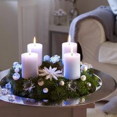 Christmas-Candle-Decoration-Ideas - Christmas Celebration - All about Christmas Christmas Candle Centerpieces, Advent Candles, Christmas Candles, Christmas Decorations, Holiday Decor, Flameless Candles, Pillar Candles, Candle Wax, Family Holiday