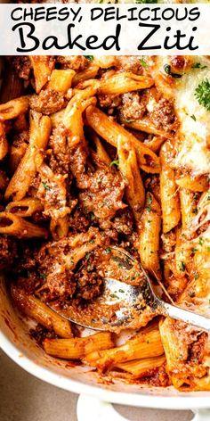 Easy Baked Ziti, Best Baked Ziti Recipe, Italian Baked Ziti Recipe, Baked Ziti Recipes, Baked Ziti Healthy, Easy Italian Recipes, Easy Chicken Dinner Recipes, Ground Beef Recipes Easy, Easy Casserole Recipes For Dinner Beef