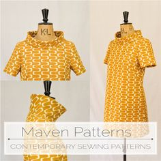 The French Dart Shift PDF sewing pattern by MAVEN PATTERNS   made in IN THEORY - wavelength -    barkcloth by Cloud 9 fabrics