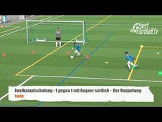 Fussballtraining: Der Doppelweg mit Gegner seitlich - Zweikampfschulung - Taktik - YouTube